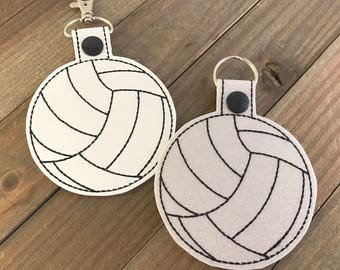 Volleyball Keychain, Volleyball Key Fob, Volleyball Bag Tag, Volleyball Zipper Pull, Volleyball Team Gifts, You choose color-Personalizable