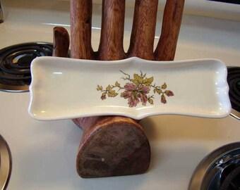 Vintage porcelain spoon rest, Ceramic spoon rest, ceramic trinket tray, vintage spoon rest