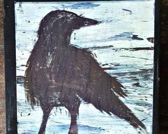 Raven Coaster - Crow Decor - Black and White Decor