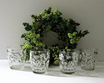 Vintage Cordials Shot Glasses Set of 4 Hand Painted White Black Floral Toasting Glasses Votive Candle Holder Glass Votive Glasses