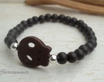 Wooden Bead Bracelet dark brown skull for men