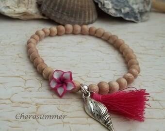 "Summer pink white bracelet ""Hawaii"""