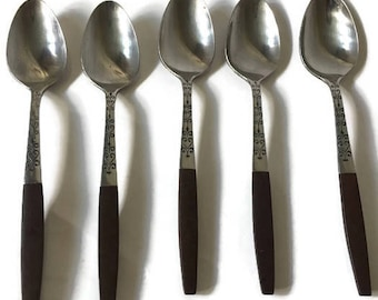 5 Vintage Mid Century Interpur Tea Spoons, Interpur INR2 Flatware Dessert Spoons, Danish Modern Canoe Muffin Tea Spoon