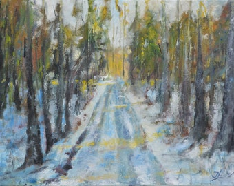 Original Oil Painting on Canvas. Winter Forest Landscape Painting. Winter Oil Painting. Original Art. Contemporary Fine Art.