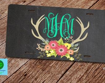 Custom License Plate. Custom License Plate Frame. Deer Antler License Plate. Water Color Floral License Plate. Deer Antler and Flowers.