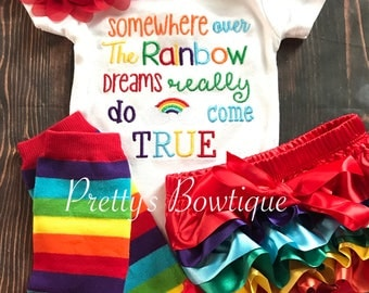 Somewhere over the rainbow shirt or bodysuit-- Baby girls outfit-- Rainbow baby set-- Rainbow baby bodysuit- baby shower gift
