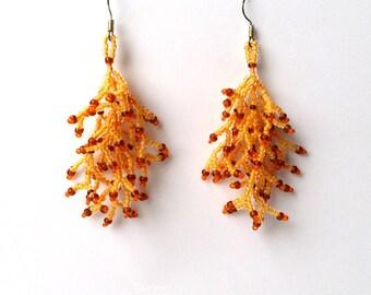 Long  Earrings. Brown Yellow  Earrings.  Gift For Her.  Dangle  Earrings.  Beadwork.