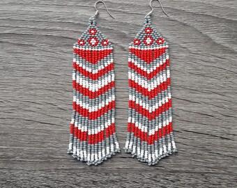 Beaded Native American Earrings Inspired. White  Red  Gray Earrings. For Her. Beadwork