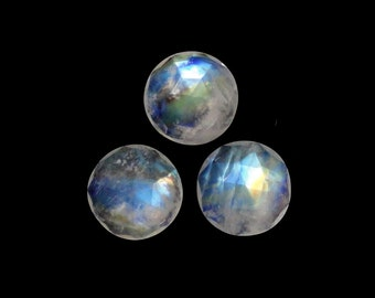 Rose Cut Rainbow Moonstone Cabochons Round 10mm Great Luster Approximately 8.00 Carat (10809)