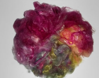 ButterSilk Fiber - Fluffy soft and textured- Vintage Cabernet - red teal blue green yellow gold purple  - silk fusion spinning felting nuno