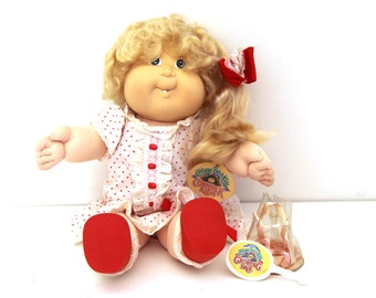 Rare Vintage 80s CABBAGE PATCH KID doll cornsilk growing hair girl blonde