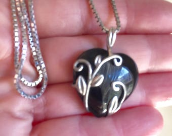 Sterling silver and black onyx heart pendant and chain