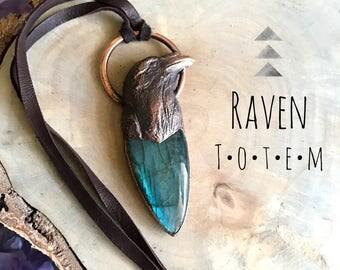 Raven Totem Labradorite RELIC Necklace