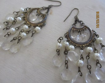 Unique Truly Stunning Vintage Pearl Beaded Chandalier Bridal Earrings, Chandalier Earrings, Bridal Earrings, Bridal Shower Gift