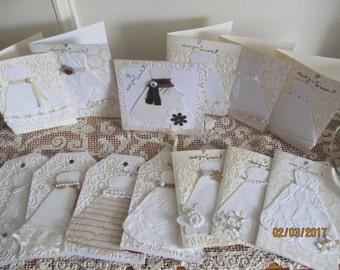 12 Asst Blank Handmade Bridal Shower Cards,Rustic Shower Cards, Shabby Chic Shower Cards