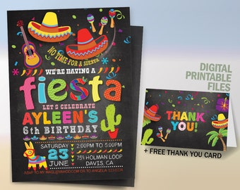 Fiesta Birthday Invitation, Cinco De Mayo Invitation, Fiesta Party Chalkboard Invitation, Fiesta Printable Invitation