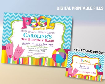 Pool Party Birthday Invitation, Pool Party Birthday Printable Card, Water Slide Birthday Party, Water Games Party Announcement