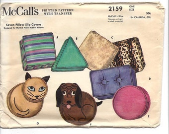 1950s McCall's #2159, Seven Pillow Slip Covers, For Molded Foam Rubber Pillows, UNCUT FF Sewing Pattern and Transfer