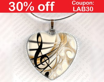Treble Clef Music Pendant, Music Necklace, G-clef, Treble Clef Necklace, Music Jewelry, Gift for Music Lover, Gift for Musician, Charm