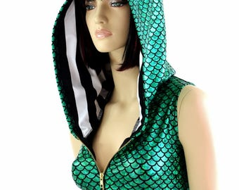 Green Round Scale Zipper Front Sleeveless Crop Hoodie with Orange Sparkly Jewel Spikes & Black and White Stripe Hood Liner 154525