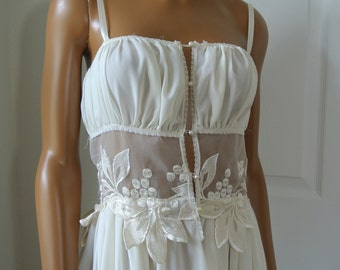 Flora Nikrooz Nightgown and Robe Set Ivory White Bridal Wedding 1970s Glam Loungewear Size P