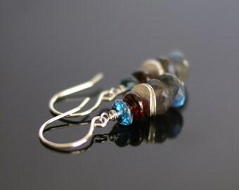 Labradorite earrings, London Blue topaz earrings, Garnet earrings, London Blue topaz jewelry, Labradorite jewelry gift, Argentium ear wires