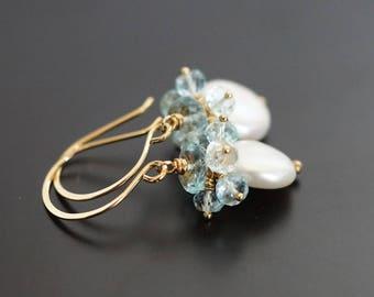 Freshwater pearl coin earrings, pearl drop earrings, Swiss Blue topaz earrings, bridal earrings, gold fill ear wires, jewelry gift for her
