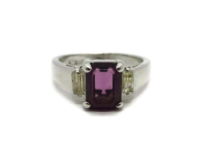 Vintage Amethyst Glass Ring, Silver Toned Emerald Cut Costume Jewelry Ring, Size 6.5, Valentine's Day Gift