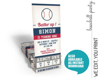 Baseball Invitation, Baseball Birthday Invitation, Baseball Ticket Invitation