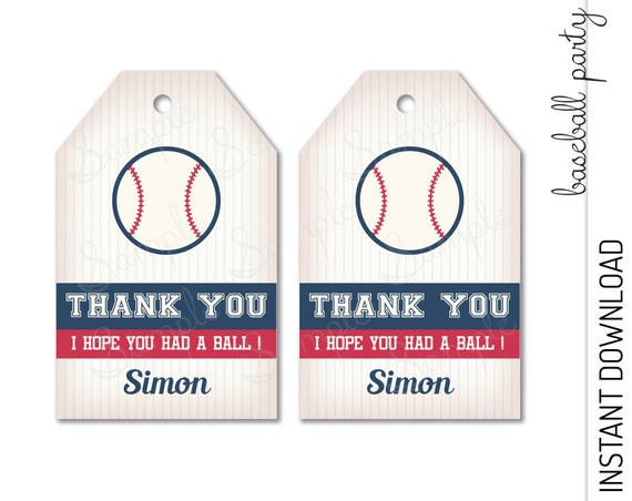 Baseball Favor Tag INSTANT DOWNLOAD