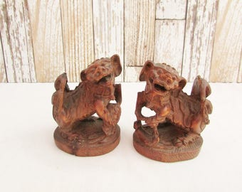 Pair of Vintage Chinese Foo Dogs - Guardian Lions - Intricately Carved