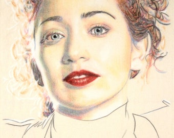 Original hand drawn portrait of Regina Spektor, in charcoal and pastel on calico