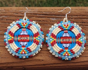 Native American Beaded round turquoise pendleton dangle earrings