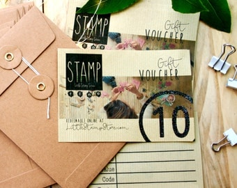 Gift Voucher - Little Stamp Store Vouchers - Gift Certificate - Birthday For Her - Five Pounds - Ten Pounds - Twenty Pounds - Craft