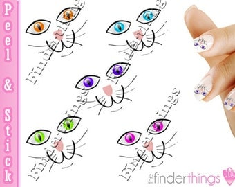 Cat Face Colorful Eyes Variety Nail Art Decal Sticker Set CAT902
