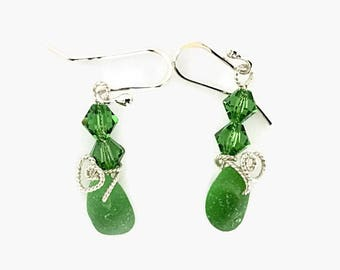 Green Sea Glass Jewelry, Handcrafted Sterling Silver Metalwork, Beach Glass Earrings
