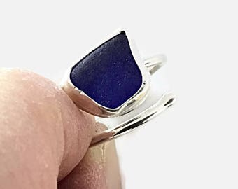 Adjustable Blue Sea Glass Ring, Sterling Silver Jewelry, Beach Glass Jewelry, American Ring Size 6