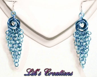 Rose Cascade Chainmaille Earrings - Solid color