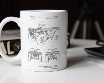 Four Wheeler Patent Mug, ATV, Four Wheeler, Outdoorsy, Sports Decor, Outdoor Mug, PP0902