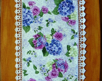 Hydrangea Rose Fabric Table Runner With White Crocheted Edge