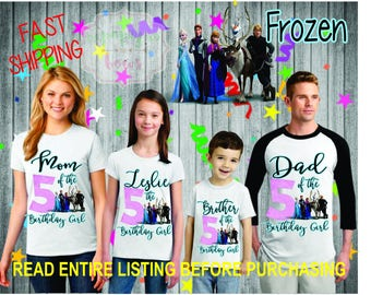 Frozen theme birthday Girl Shirts for the entire family Girl Dad Mom Brother Age Name Custom Theme Raglan T-shirt Elsa anna olaf