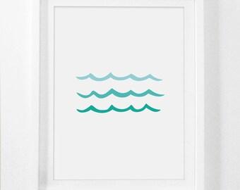 Beach Nursery, Beach Nursery Decor, Beach Kids Art, Beach Kids Print, Blue Kids Room Art, Ocean Nursery Art, Ocean Nursery Printable Prints