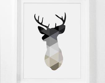 Monochrome Print, Monochromatic Art, Deer Antlers Wall Art, Monochrome Art, Deer Wall Art, Deer Print, Geometric Deer, Printable Nordic Art