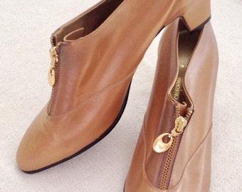 VINTAGE - MOD – HIP –Never Worn Gold/Bronze Fashion Bootie Shoe sz 11