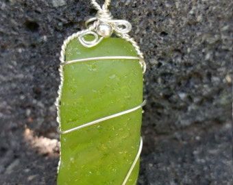Bright lime green seaglass pendant in sterling silver