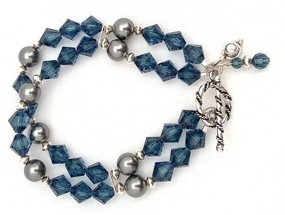 Montana Swarovski Crystal and Grey Swarovski Crystal Pearl Bracelet, Crystal Bracelet, Swarovski Crystal Bracelet