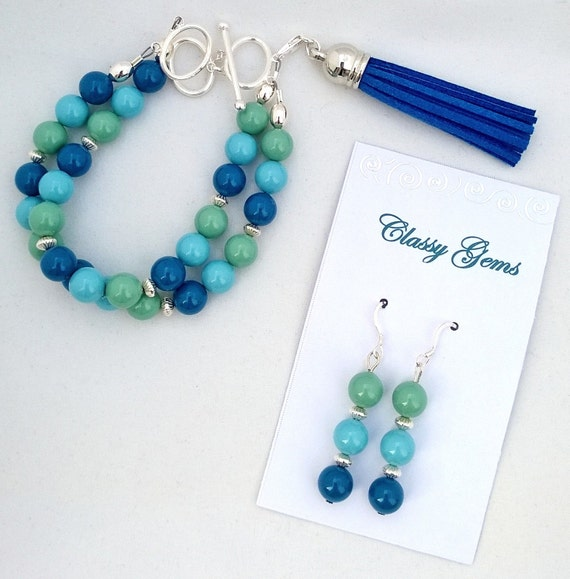 Swarovski Crystal Pearl Bracelet and Earrings, Pearl Bracelet, Turquoise Bracelet, Lapis Bracelet, Jade Bracelet