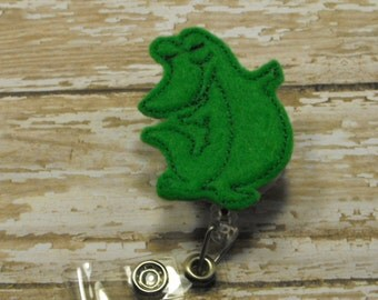 Standing Alligator felt badge reel, name badge holder, nurse badge, ID holder, badge reel, retractable badge clip, feltie badge reel