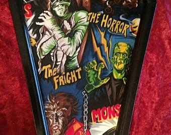 LARGE Universal Monsters  COFFIN Wall Art