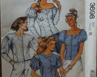 McCalls 3698, size 16, tops, womens, UNCUT sewing pattern, craft supplies